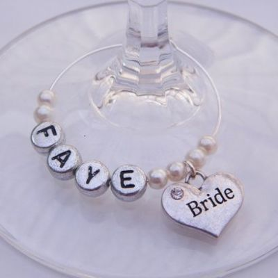 Bride Personalised Wine Glass Charm